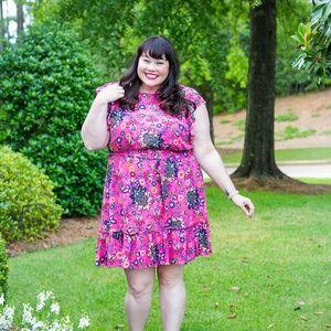 Pink Floral Dress with V back
